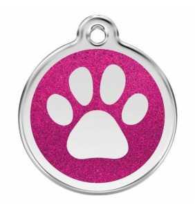 psí známka střední - K18 - tlapka růžová třpytivá