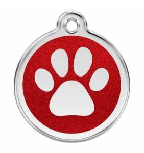 psí známka střední - K18 - tlapka červená třpytivá