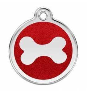 psí známka střední - K18 - kost červená třpytivá