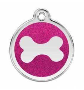 psí známka střední - K18 - kost růžová třpytivá