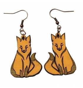 Dřevěné náušnice liška