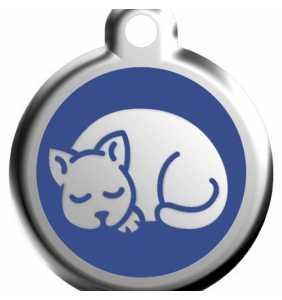 Psí známka malá - K17 - kočka - modrá