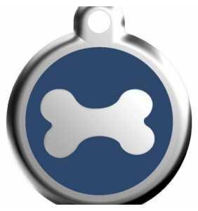 Psí známka střední - K18 - kost - modrá