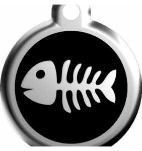 Psí známka malá - K17 - rybka - černá