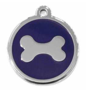 Psí známka malá - K17 - kost - modrá