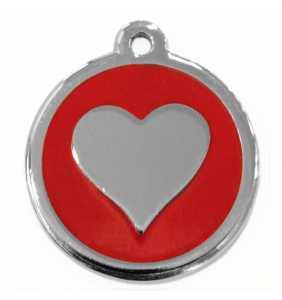 Psí známka velká - K19 - srdce - červená