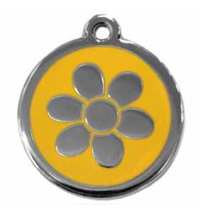 Psí známka malá - K17 - kytka - žlutá