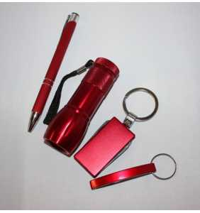 dárková sada červená 04 svítilna + manikúra + otvírák + propiska