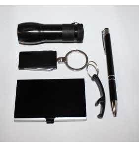 dárková sada černá 11 svítilna + vizitkář + manikúra + propiska + otvírákú