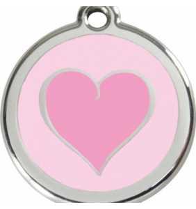 psí známka střední - K18 - srdce růžové